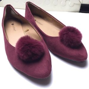 Burgundy Maroon Pointy Flats Suede Size 9/10 shoes